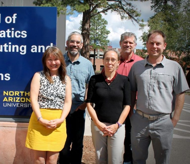 Faculty involved in T3 grant: (back row left to right) Andrew Richardson and Jay Barber; (front row left to right) Teki Sankey, Kiona Ogle, and Ben Ruddell
