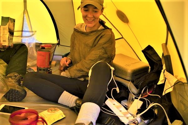 Picture of student in tent on Arctic expedition
