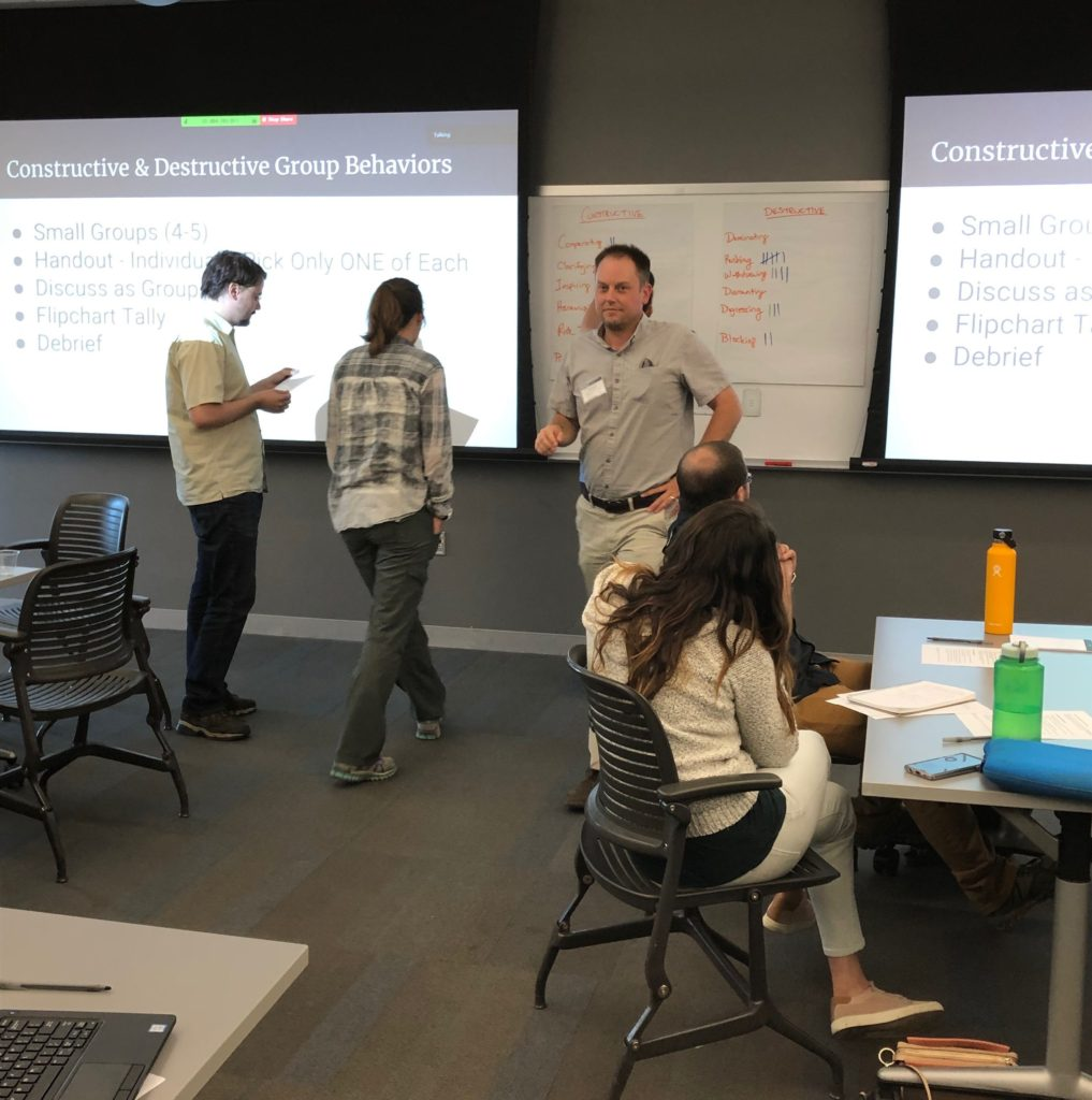 Professors, postdocs. and students participate in team-science exercises