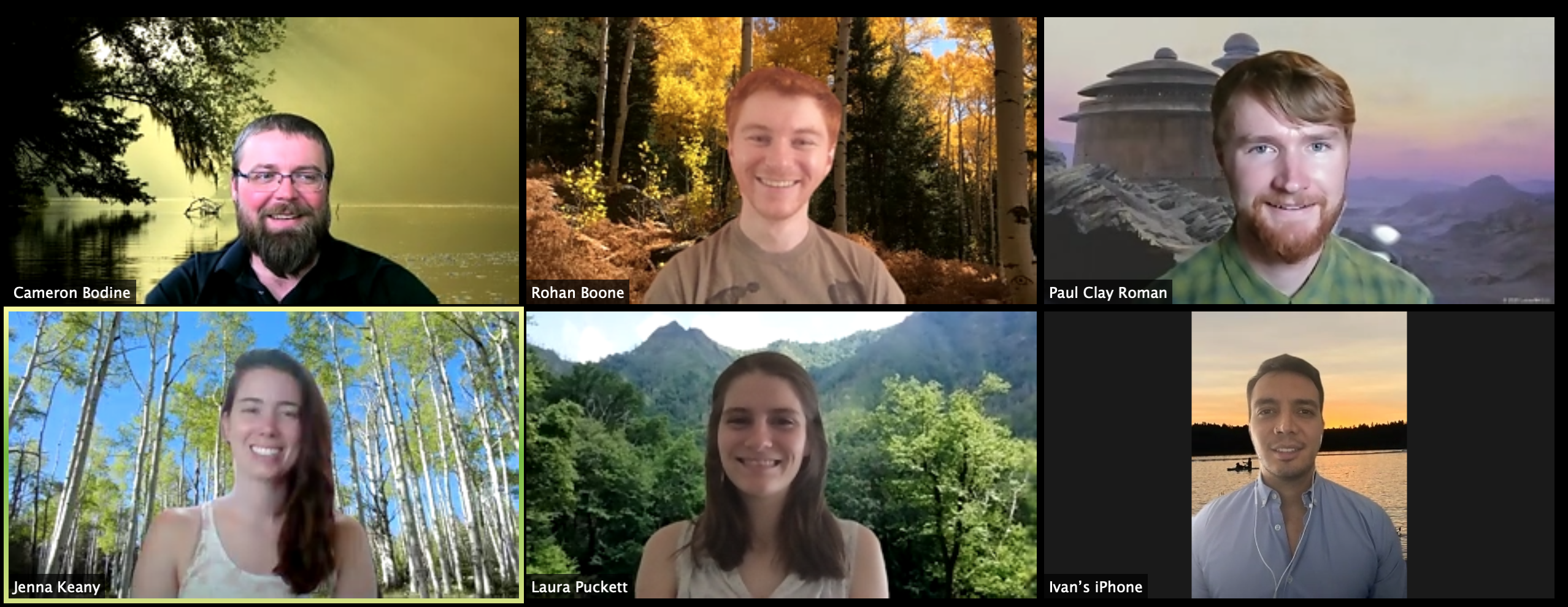 6 grad students on Zoom call