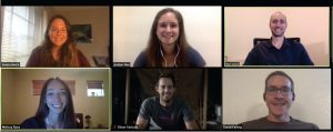 Images of six students at a Zoom meeting
