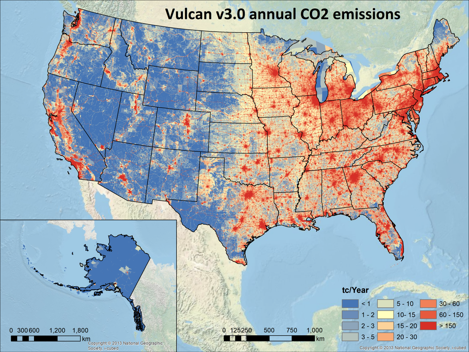 Map of CO2 emissions in the USA
