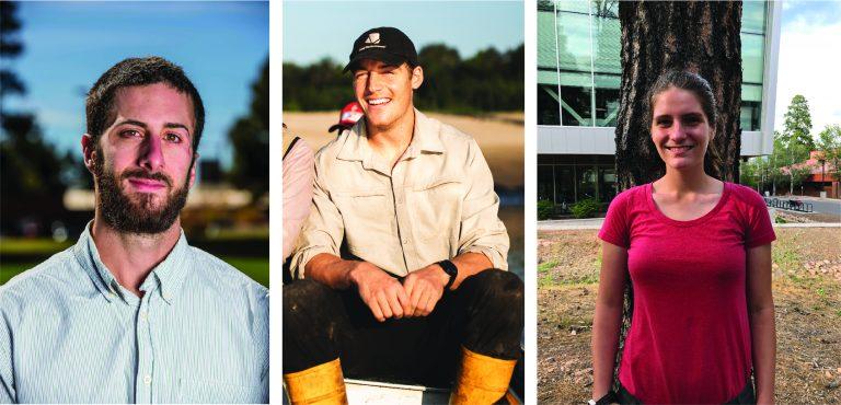 Portrait images of 3 graduate students